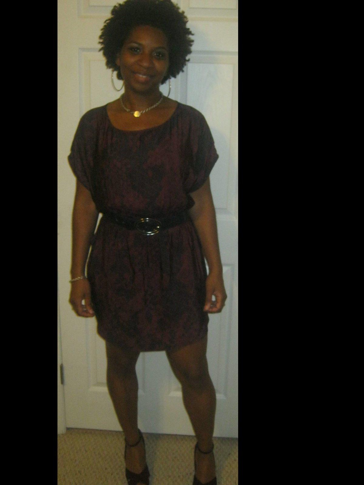 Shirt dress with belt added