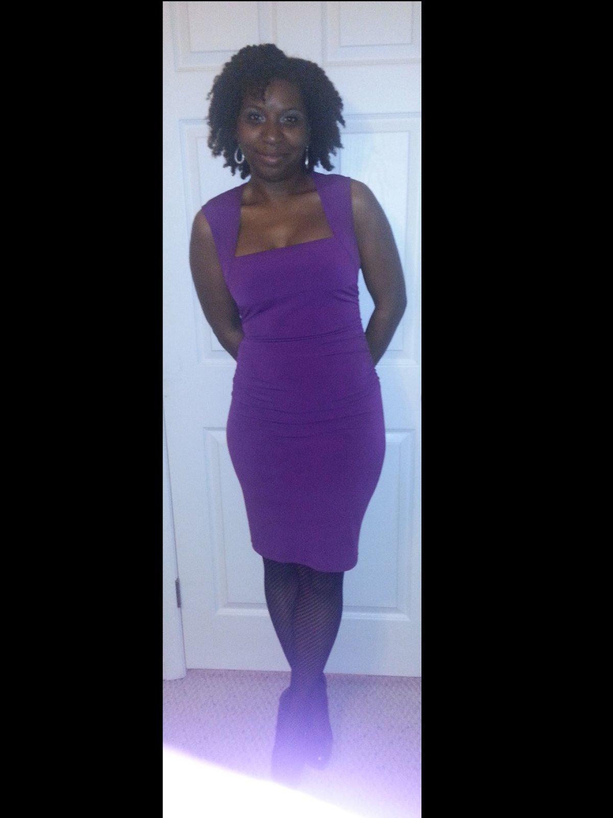 Purple with square neckline.